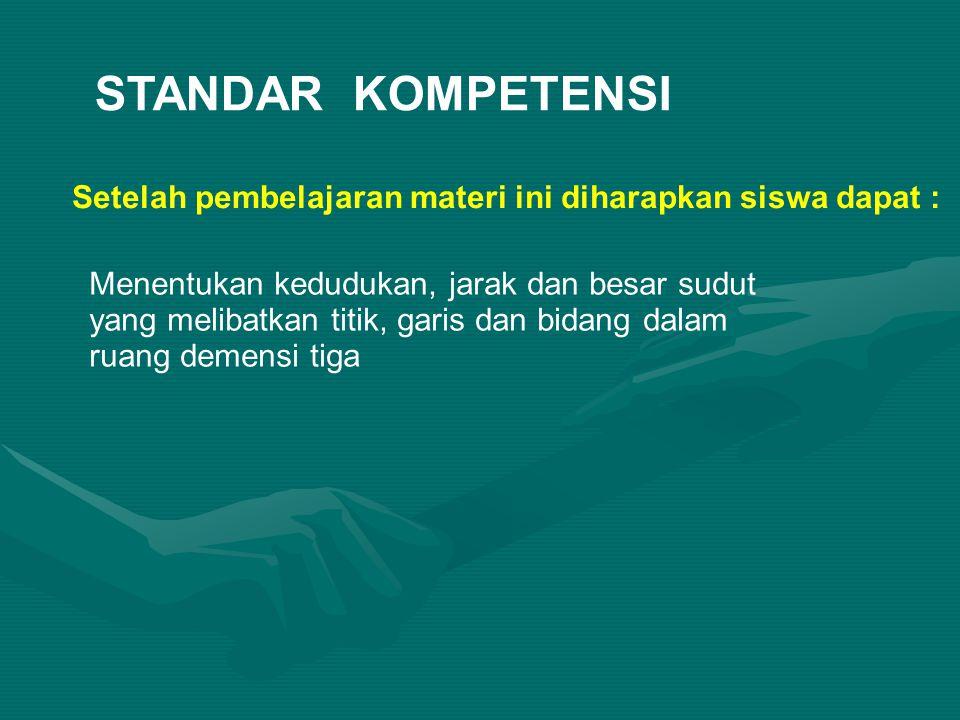 STANDAR KOMPETENSI Setelah pembelajaran materi ini diharapkan siswa dapat :