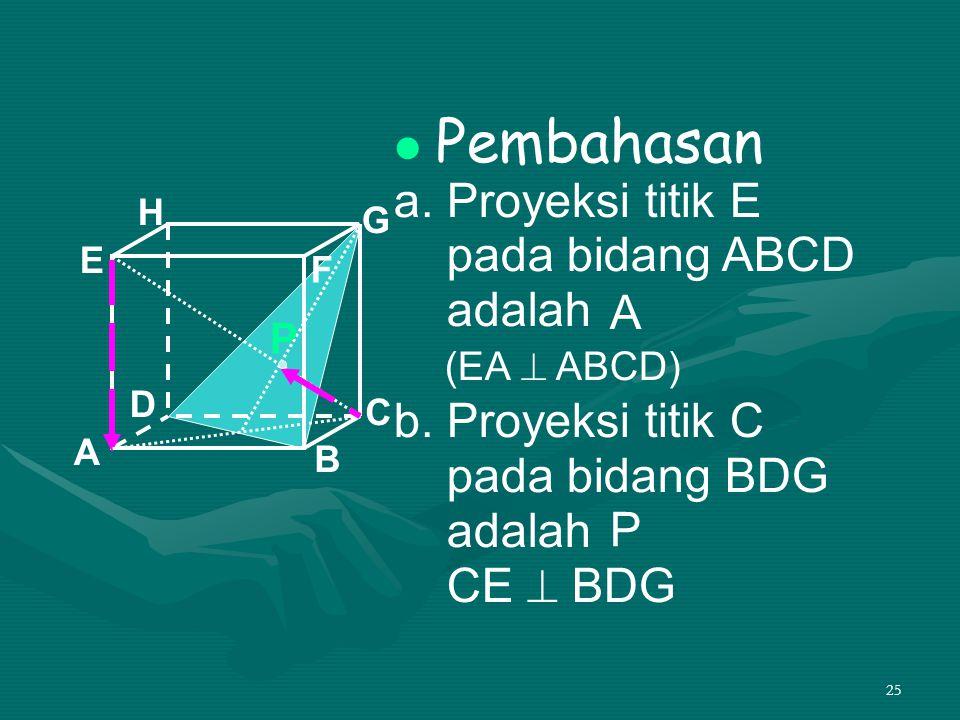 Pembahasan a. Proyeksi titik E pada bidang ABCD adalah