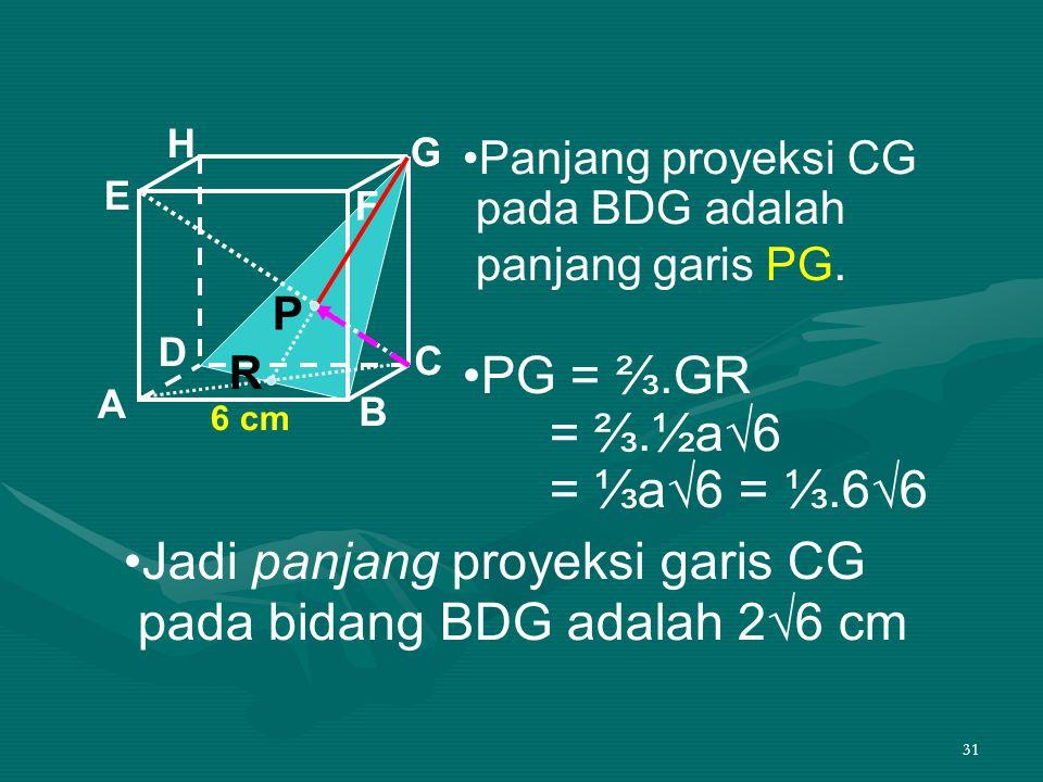 •Jadi panjang proyeksi garis CG pada bidang BDG adalah 2√6 cm