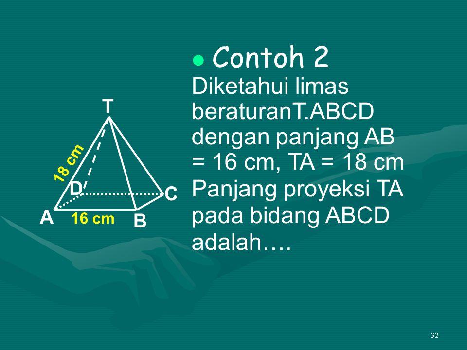 Contoh 2 Diketahui limas beraturanT.ABCD dengan panjang AB