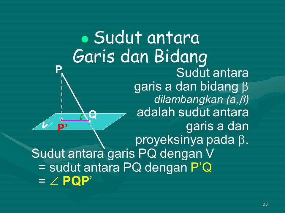 Garis dan Bidang Sudut antara garis a dan bidang  adalah sudut antara