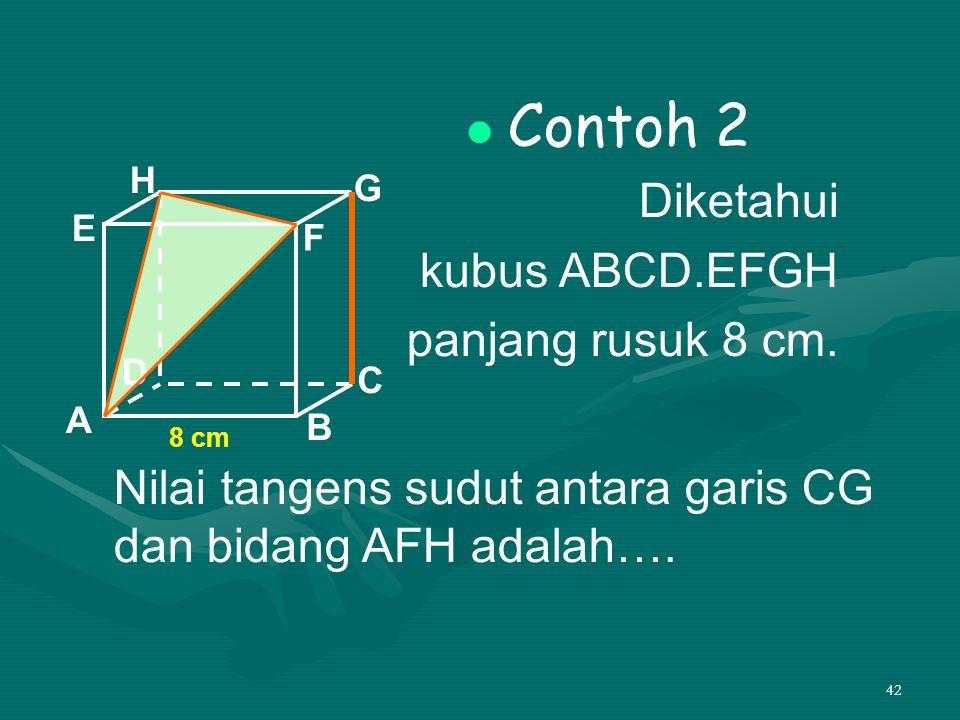 Nilai tangens sudut antara garis CG dan bidang AFH adalah….