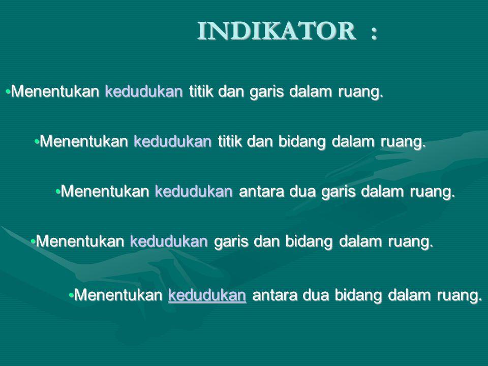 INDIKATOR : Menentukan kedudukan titik dan garis dalam ruang.