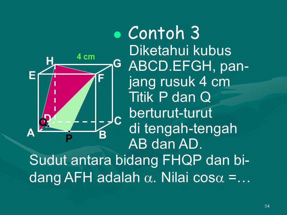 Sudut antara bidang FHQP dan bi- dang AFH adalah . Nilai cos =…