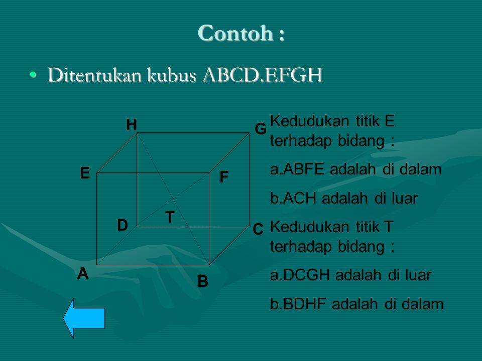 Contoh : Ditentukan kubus ABCD.EFGH
