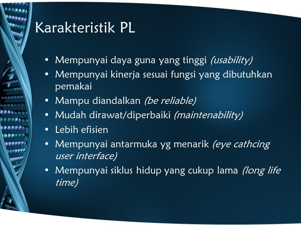 Karakteristik PL Mempunyai daya guna yang tinggi (usability)