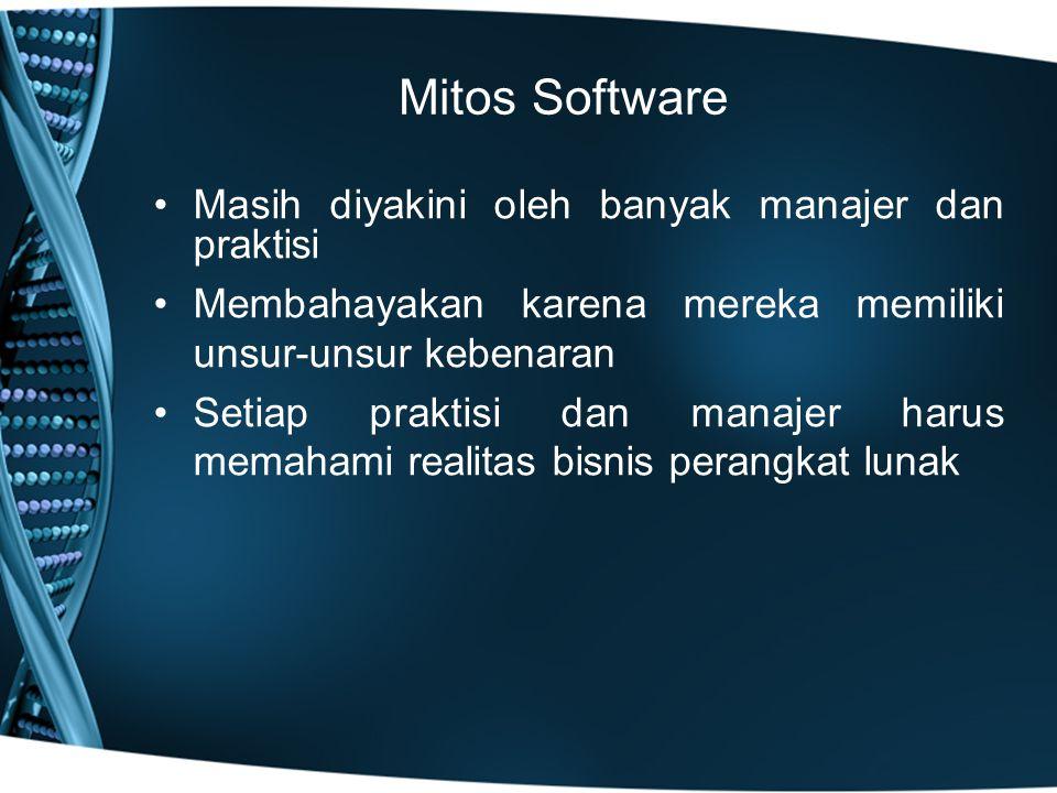 Mitos Software Masih diyakini oleh banyak manajer dan praktisi
