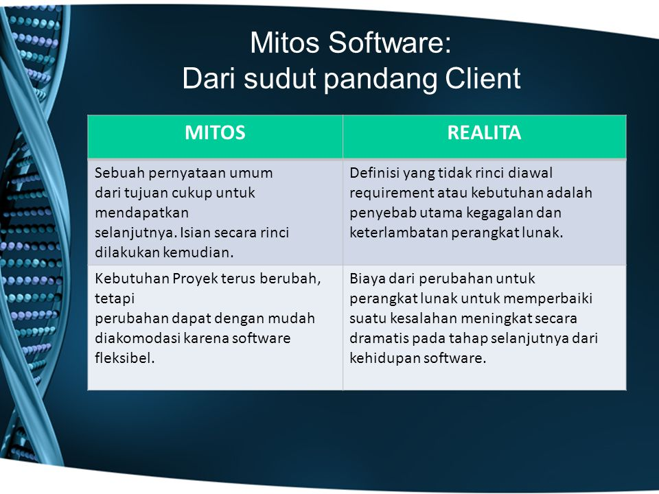 Mitos Software: Dari sudut pandang Client