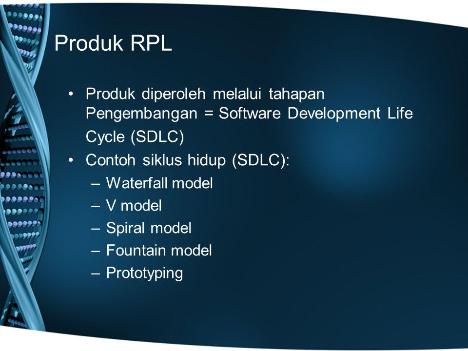 Produk RPL Produk diperoleh melalui tahapan Pengembangan = Software Development Life. Cycle (SDLC)