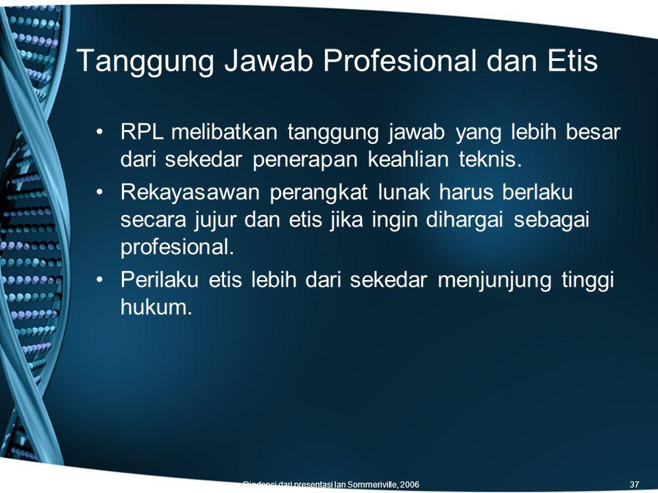 Tanggung Jawab Profesional dan Etis