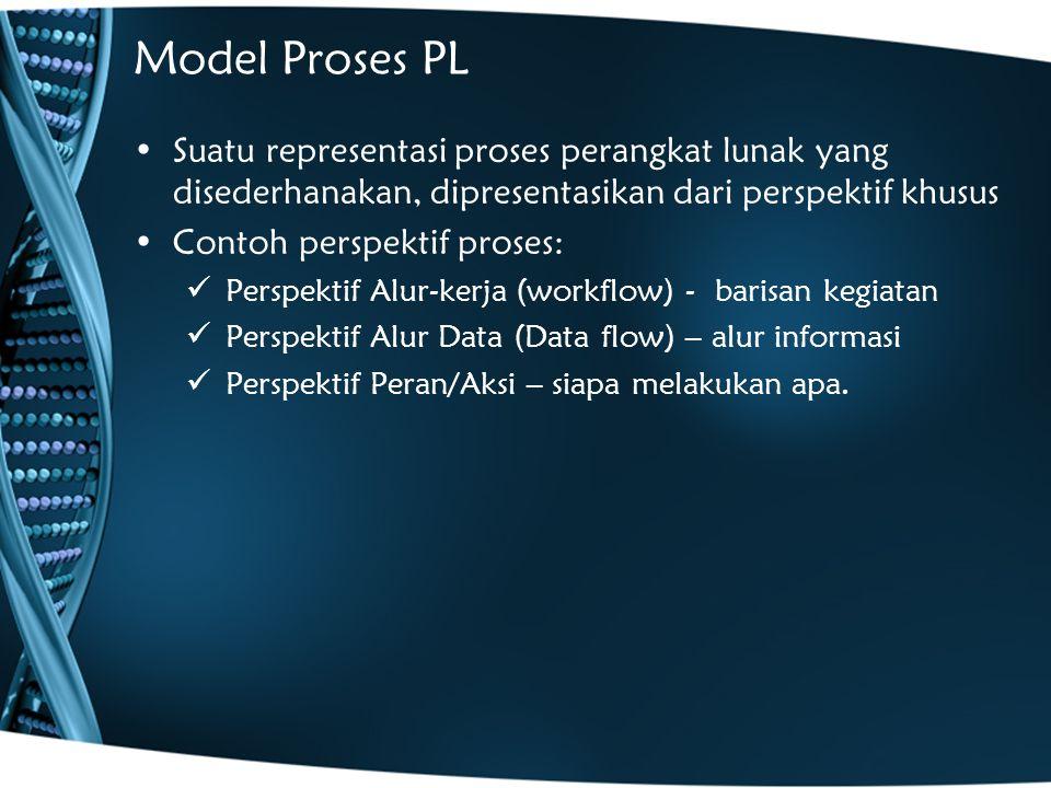 Model Proses PL Suatu representasi proses perangkat lunak yang disederhanakan, dipresentasikan dari perspektif khusus.