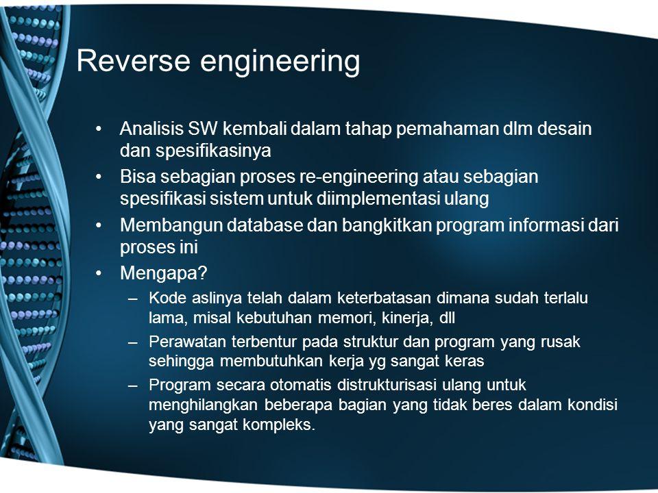 Reverse engineering Analisis SW kembali dalam tahap pemahaman dlm desain dan spesifikasinya.