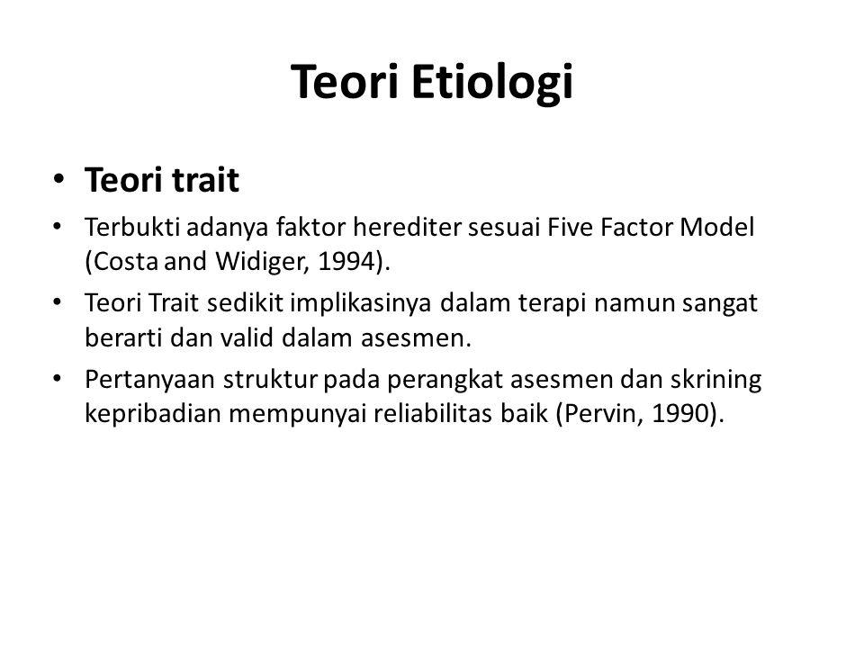 Teori Etiologi Teori trait