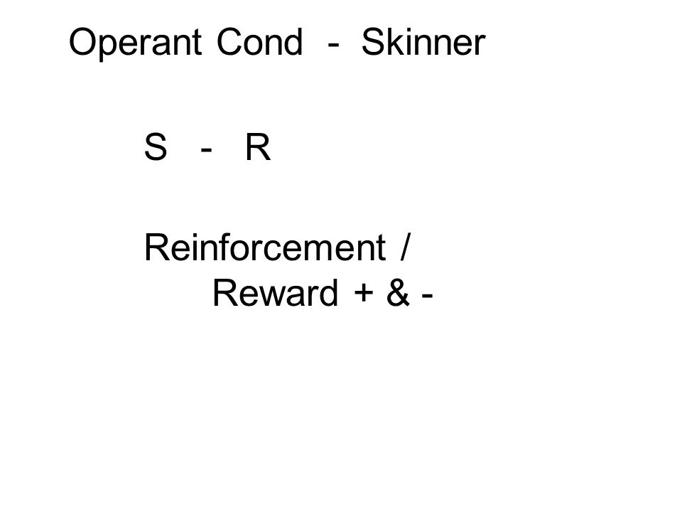 Reinforcement / Reward + & -
