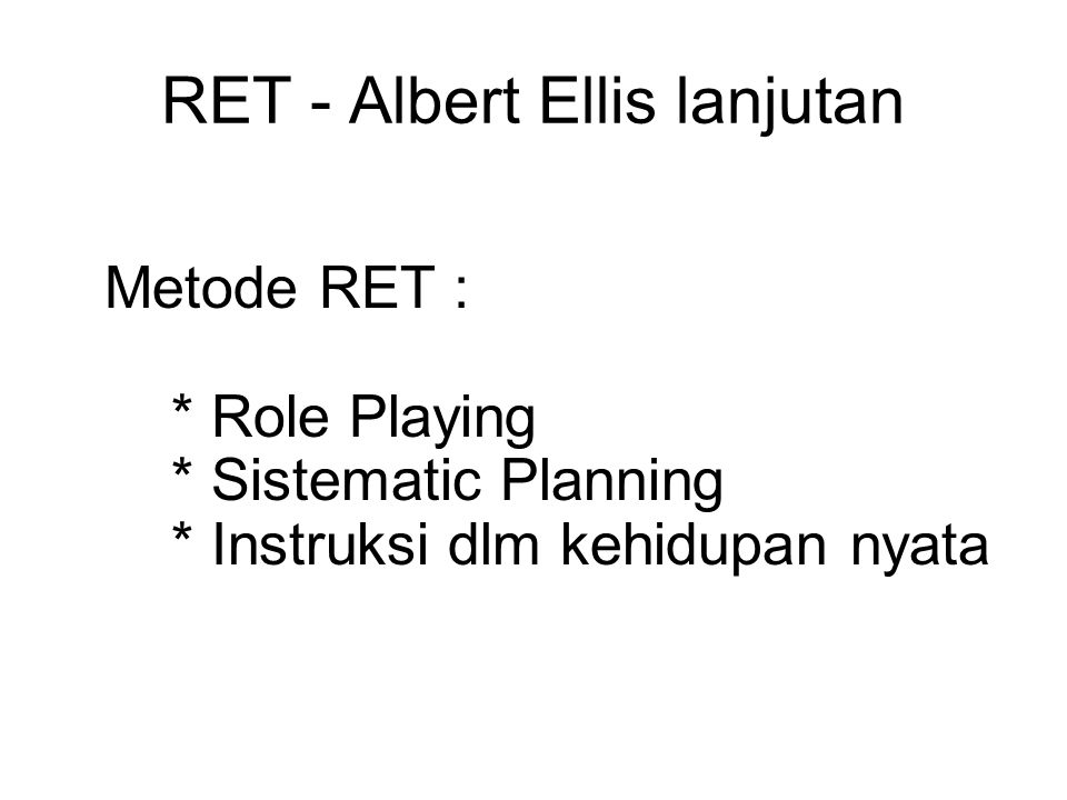 RET - Albert Ellis lanjutan