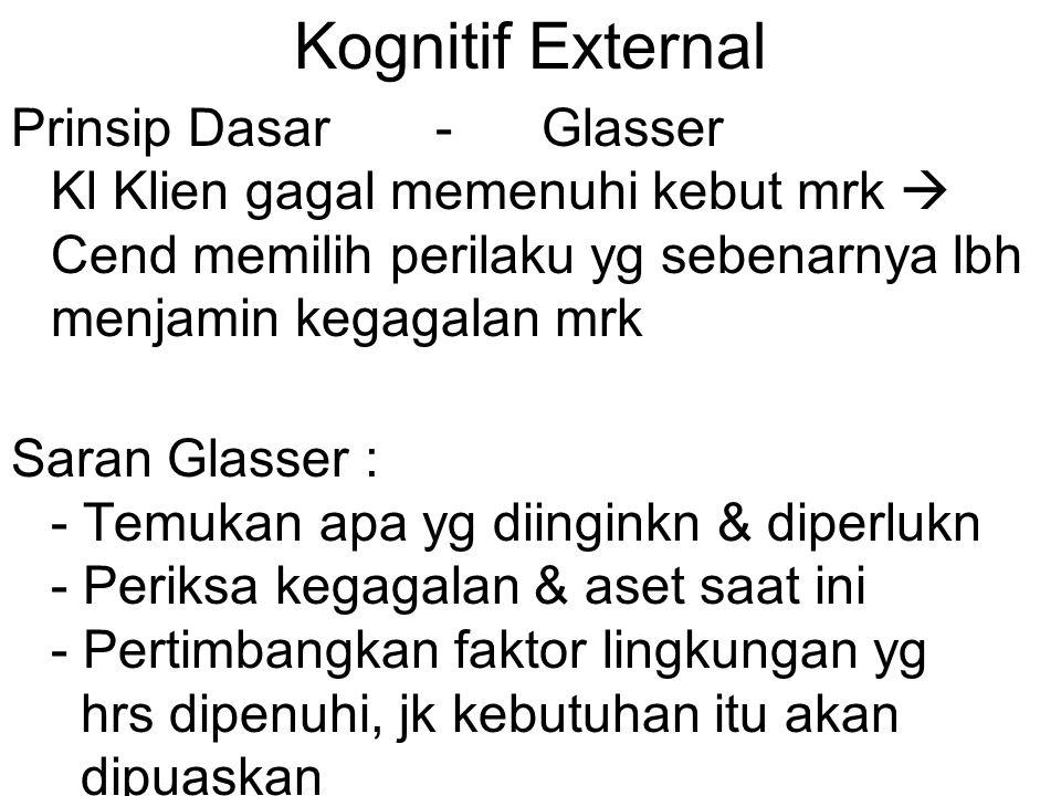 Kognitif External Prinsip Dasar - Glasser Kl Klien gagal memenuhi kebut mrk  Cend memilih perilaku yg sebenarnya lbh menjamin kegagalan mrk.