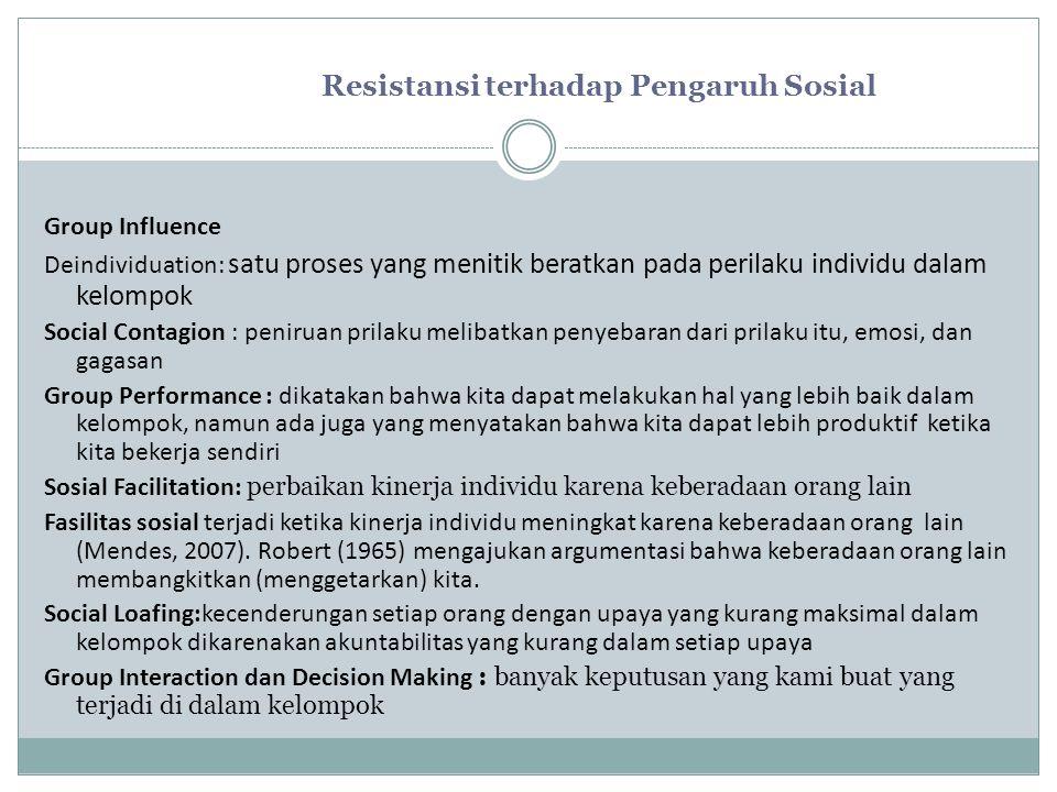 Resistansi terhadap Pengaruh Sosial