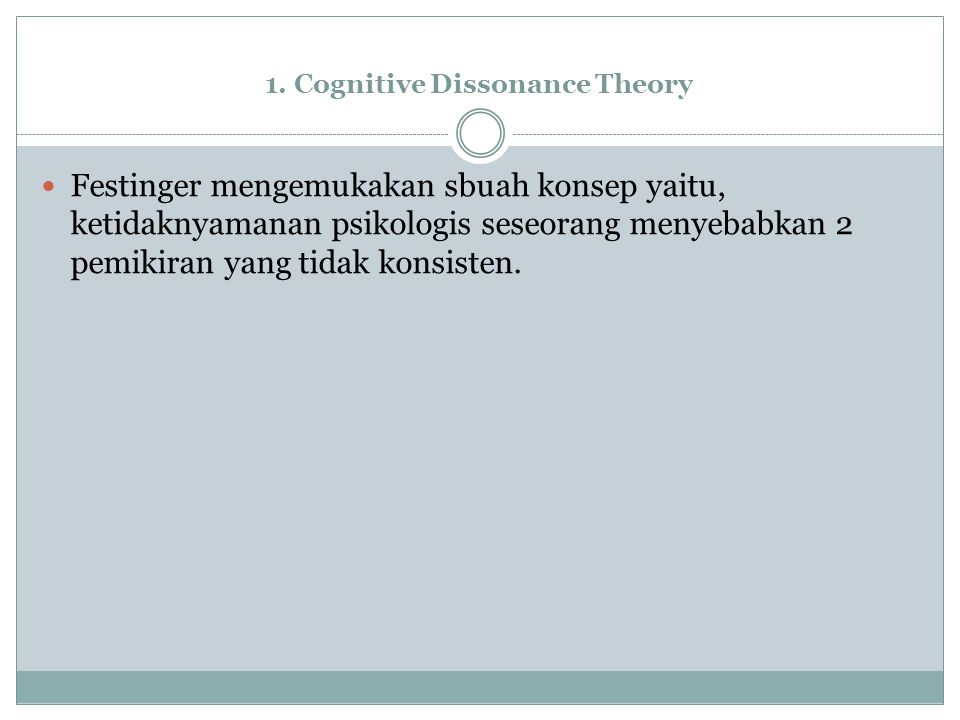 1. Cognitive Dissonance Theory