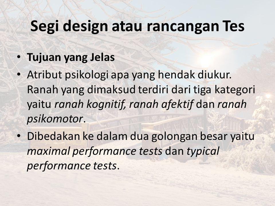 Segi design atau rancangan Tes