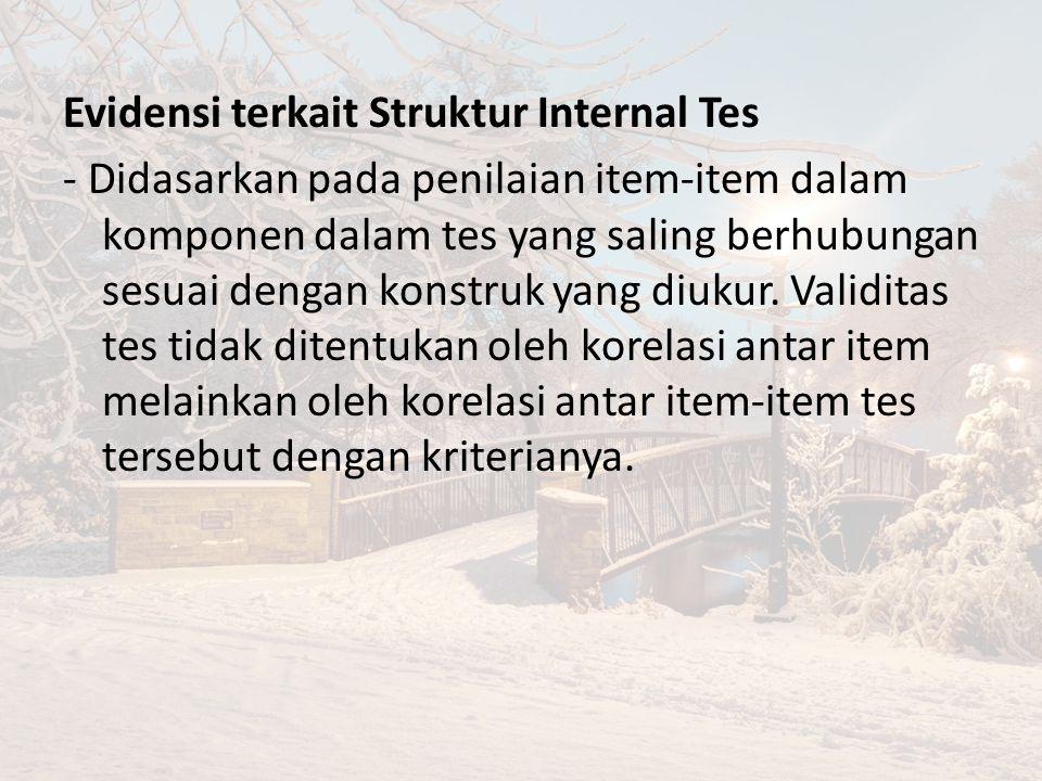 Evidensi terkait Struktur Internal Tes