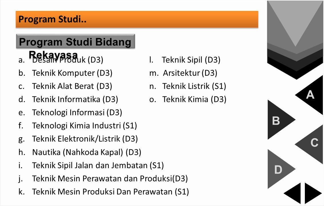 A B C D Program Studi.. Program Studi Bidang Rekayasa