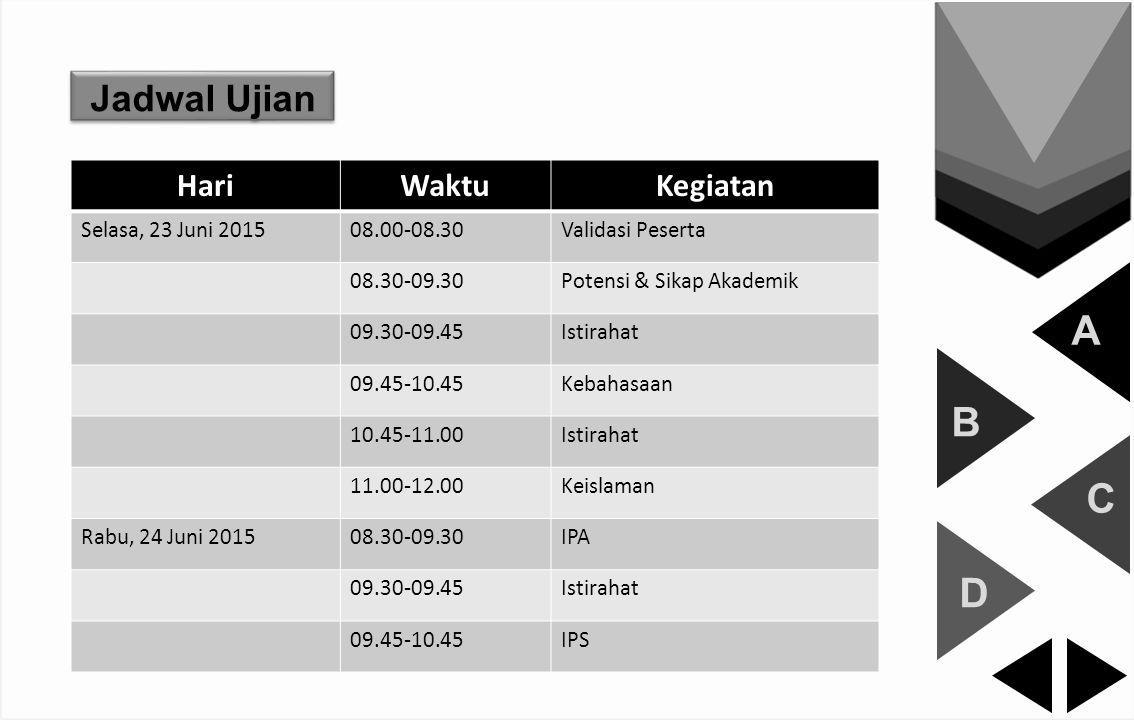A B C D Jadwal Ujian Hari Waktu Kegiatan Selasa, 23 Juni 2015