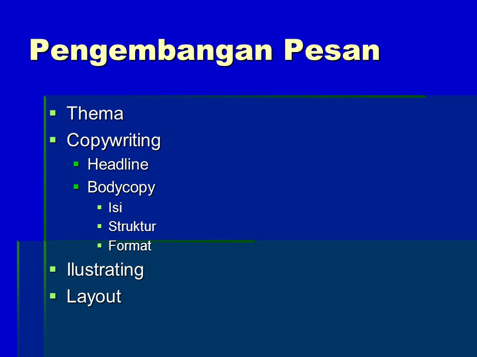 Pengembangan Pesan Thema Copywriting Ilustrating Layout Headline