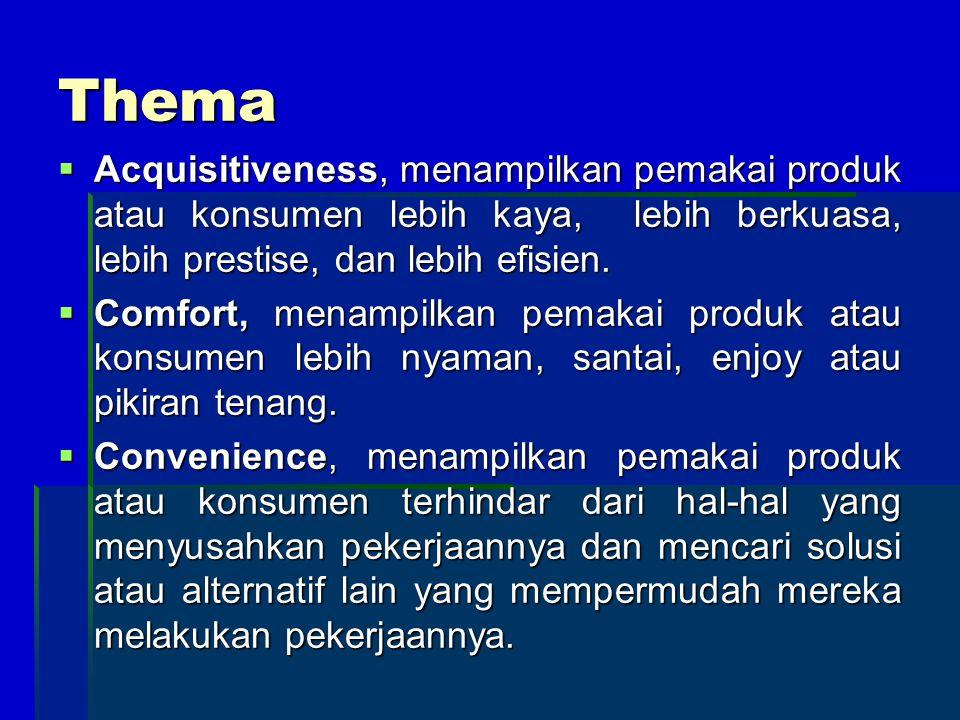 Thema Acquisitiveness, menampilkan pemakai produk atau konsumen lebih kaya, lebih berkuasa, lebih prestise, dan lebih efisien.