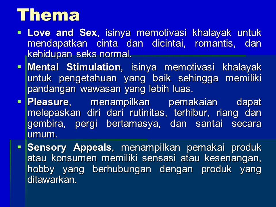 Thema Love and Sex, isinya memotivasi khalayak untuk mendapatkan cinta dan dicintai, romantis, dan kehidupan seks normal.