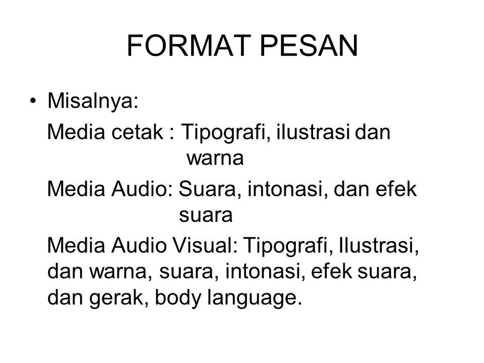 FORMAT PESAN Misalnya: Media cetak : Tipografi, ilustrasi dan warna