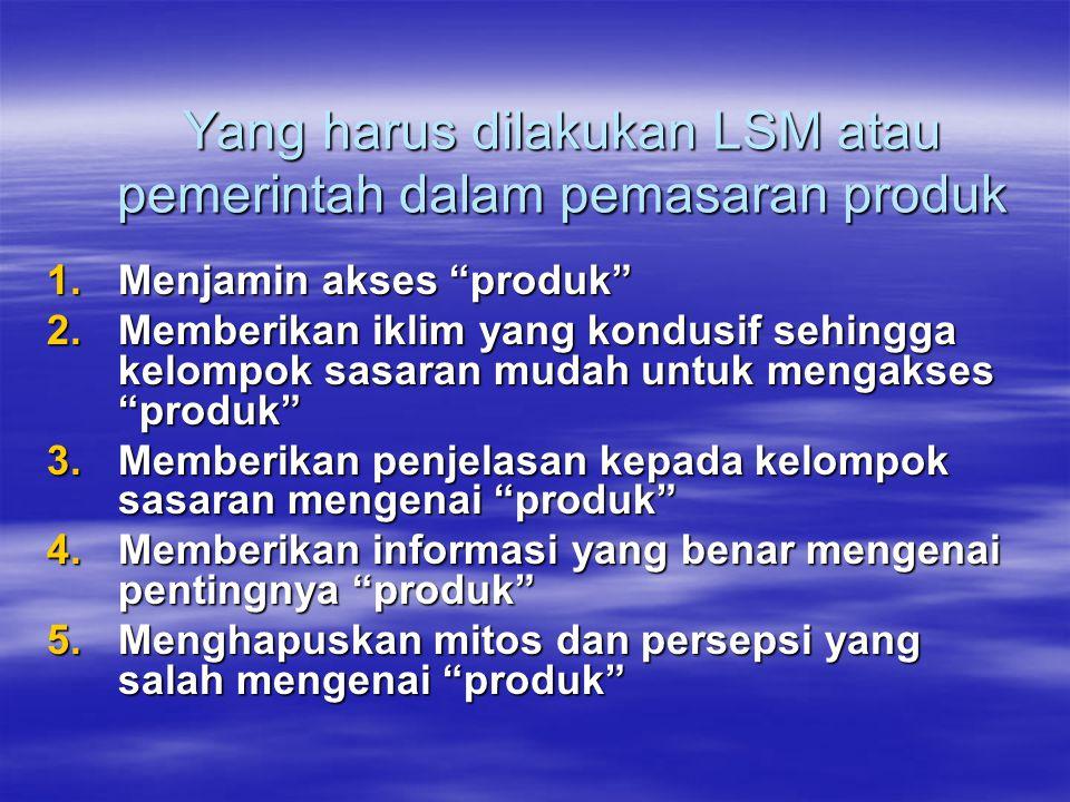 Yang harus dilakukan LSM atau pemerintah dalam pemasaran produk