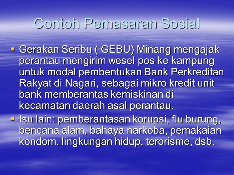 Contoh Pemasaran Sosial