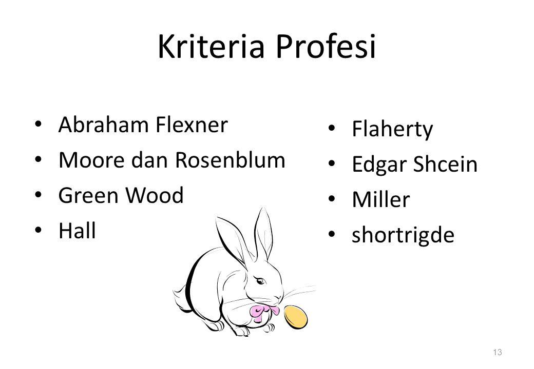 Kriteria Profesi Abraham Flexner Flaherty Moore dan Rosenblum