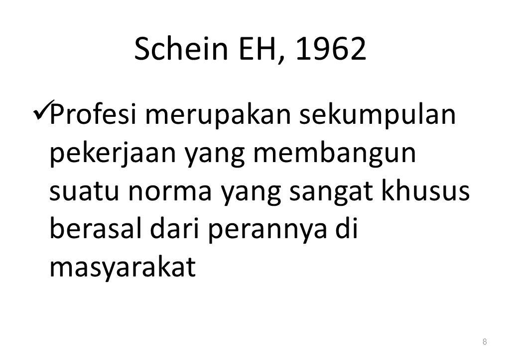 Schein EH, 1962 Profesi merupakan sekumpulan pekerjaan yang membangun suatu norma yang sangat khusus berasal dari perannya di masyarakat.