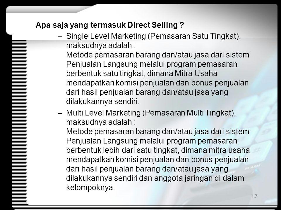 Apa saja yang termasuk Direct Selling