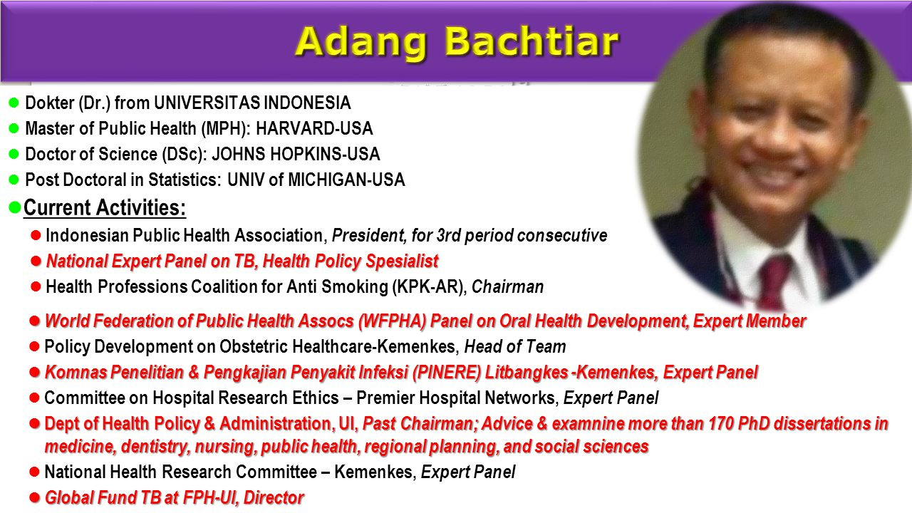 Adang Bachtiar Current Activities: