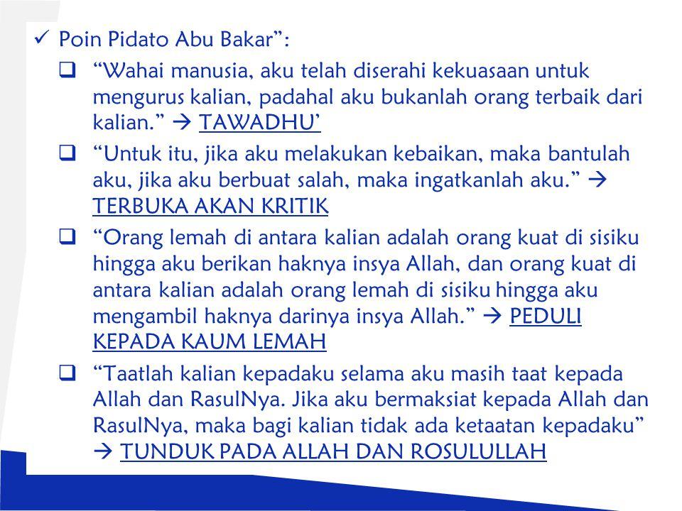 Poin Pidato Abu Bakar :