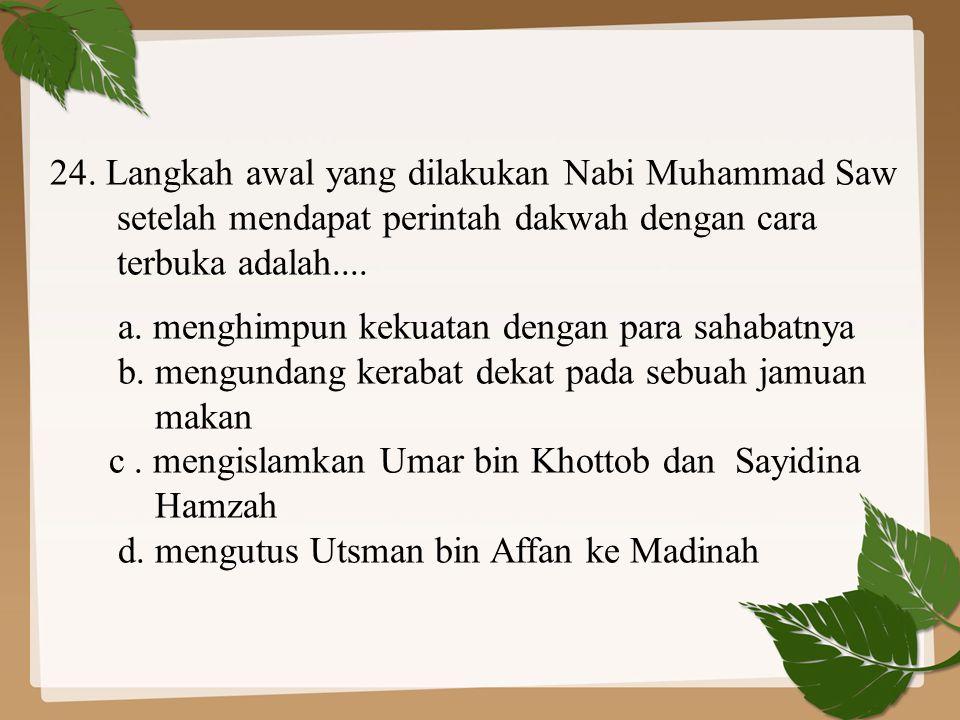 24. Langkah awal yang dilakukan Nabi Muhammad Saw