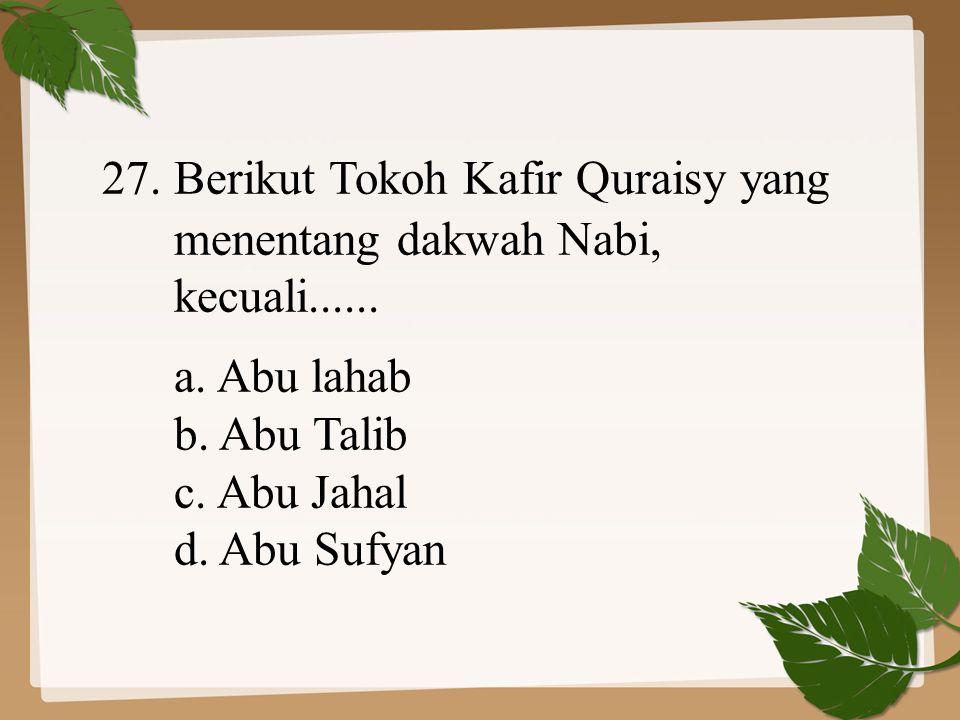 27. Berikut Tokoh Kafir Quraisy yang