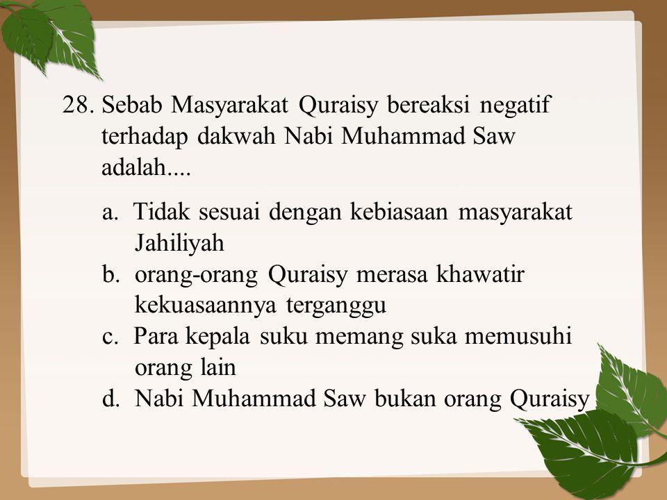 28. Sebab Masyarakat Quraisy bereaksi negatif