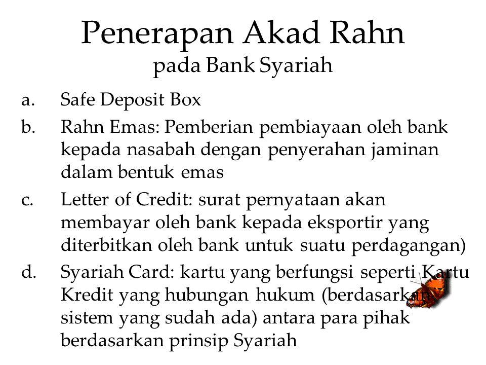 Penerapan Akad Rahn pada Bank Syariah