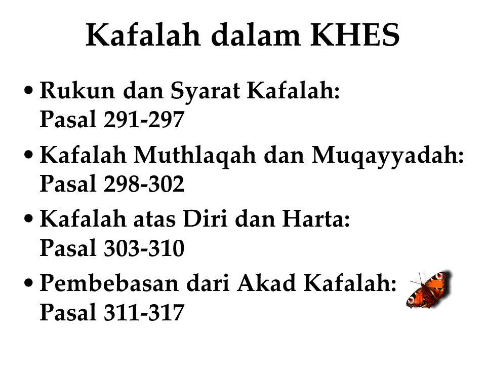 Kafalah dalam KHES Rukun dan Syarat Kafalah: Pasal 291-297
