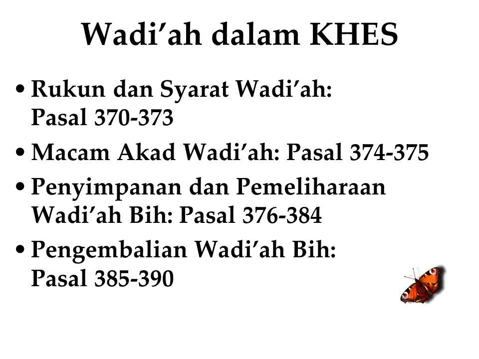 Wadi'ah dalam KHES Rukun dan Syarat Wadi'ah: Pasal 370-373