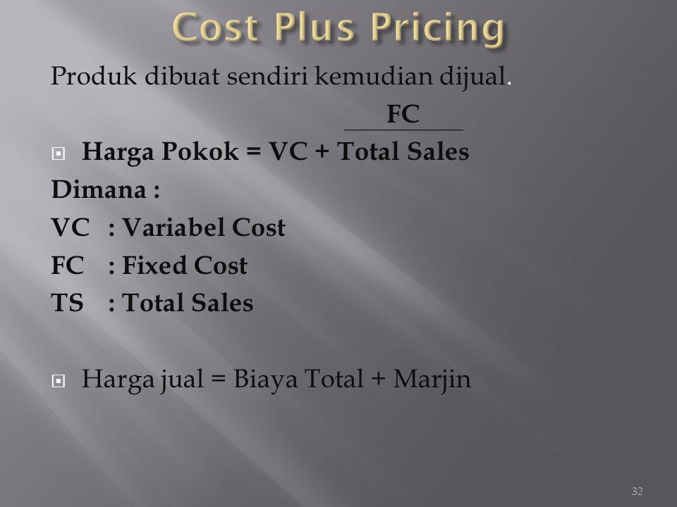 Cost Plus Pricing Produk dibuat sendiri kemudian dijual. FC