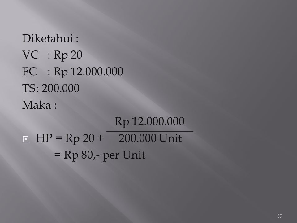 Diketahui : VC : Rp 20. FC : Rp 12.000.000. TS : 200.000. Maka : Rp 12.000.000. HP = Rp 20 + 200.000 Unit.