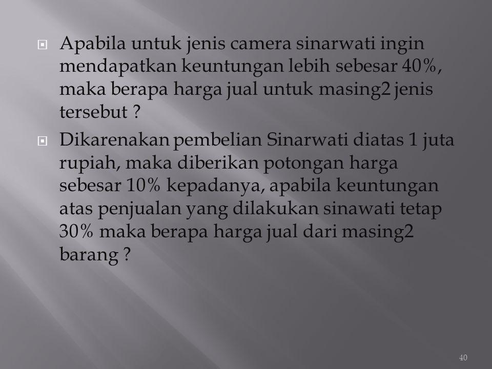 Apabila untuk jenis camera sinarwati ingin mendapatkan keuntungan lebih sebesar 40%, maka berapa harga jual untuk masing2 jenis tersebut