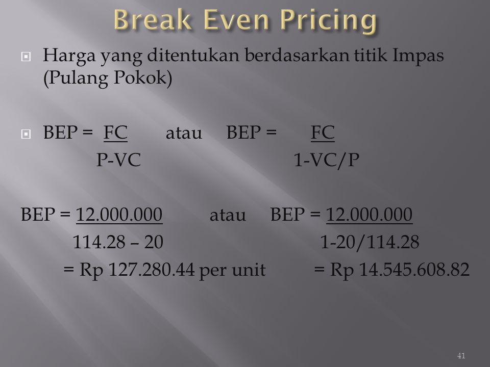 Break Even Pricing Harga yang ditentukan berdasarkan titik Impas (Pulang Pokok) BEP = FC atau BEP = FC.