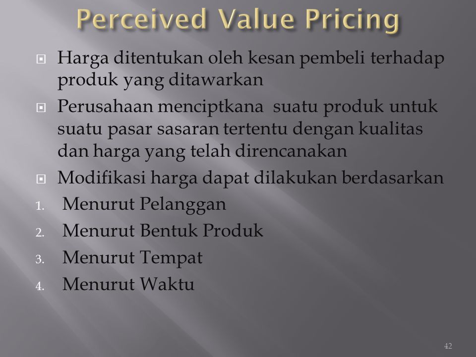 Perceived Value Pricing