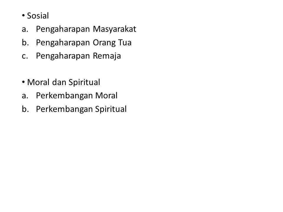 Sosial Pengaharapan Masyarakat. Pengaharapan Orang Tua. Pengaharapan Remaja. Moral dan Spiritual.