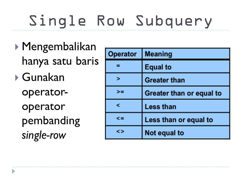 Single Row Subquery Mengembalikan hanya satu baris